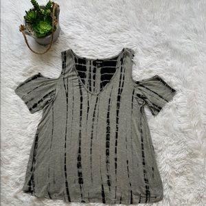 Torrid Tie-dye V-neck cold shoulder T-shirt